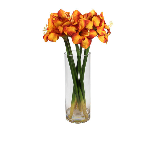 Artificial-Amaryllis-set-in-a-glass-vase-(C307)-Gold-65cm