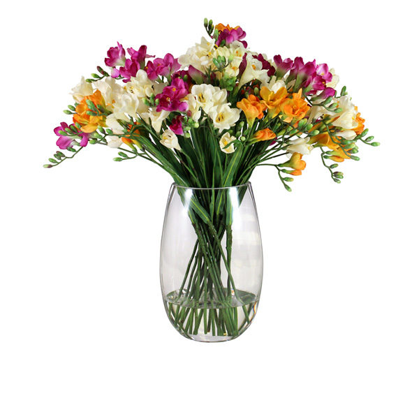 Artificial-Freesia-Mix-In-Glass-Vase-(B229)-Mixed---61cm
