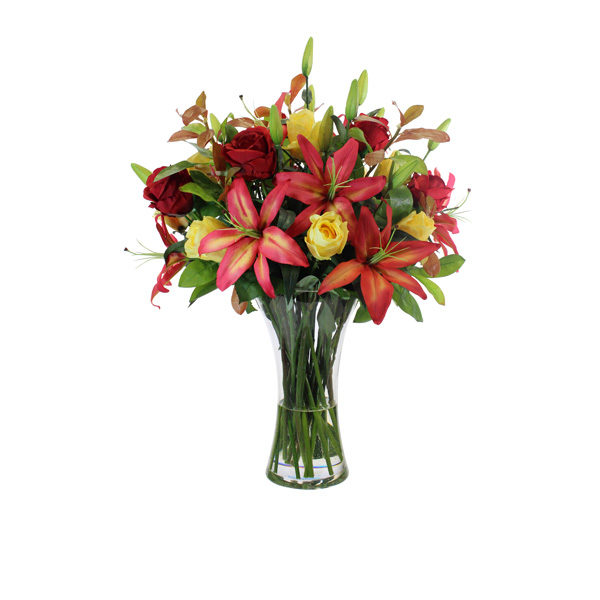 Artificial-Lily-spray-&-mixed-Rose-stems-set-in-a-clear-glass-vase-(B307)-Mixed---66cm