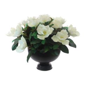 Artificial-Magnolia-stems-set-in-a-round-Bronze-tin-(LB168)-White---67cm