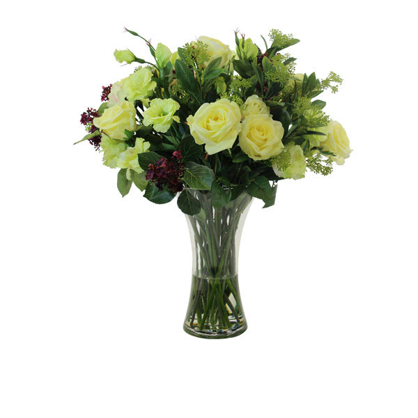 Artificial-Rose-stems-&-Lisianthus-spray-set-in-a-clear-glass-vase-(B306)-59cm---Mixed