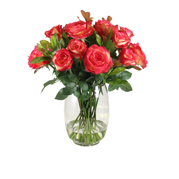 Artificial-Roses-Red-Gold-In-Glass-Vase-(C178)-Red-Gold-62cm