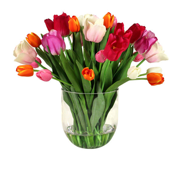 Artificial-Tulips-Mix-In-Glass-Vase-(B263)-Mixed-48cm