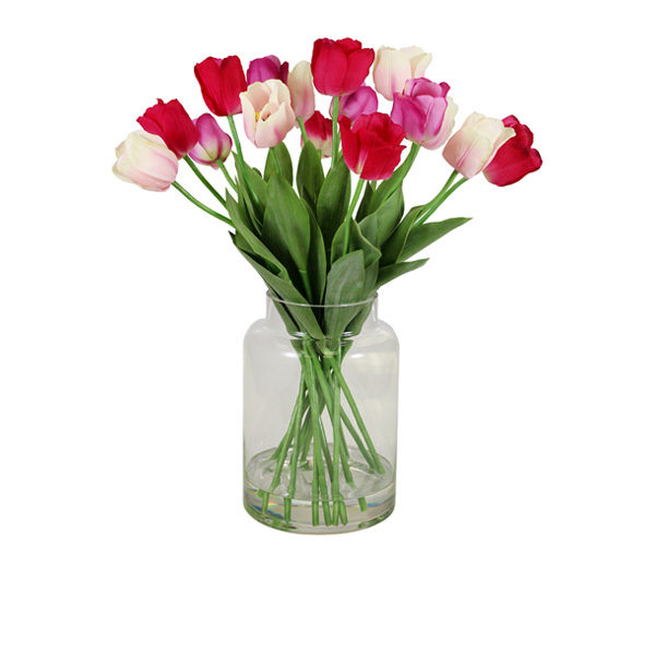 Artificial-Tulips-Mixed-In-Glass-Vase-(C264)-Mixed-66cm