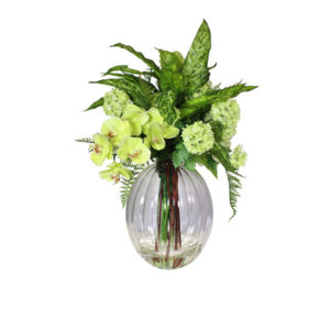 Artificial-silk-Hydrangea-Snowball-spray-with-Aglaonema-leaves-set-in-a-clear-glass-vase-LB206-Green-67cm