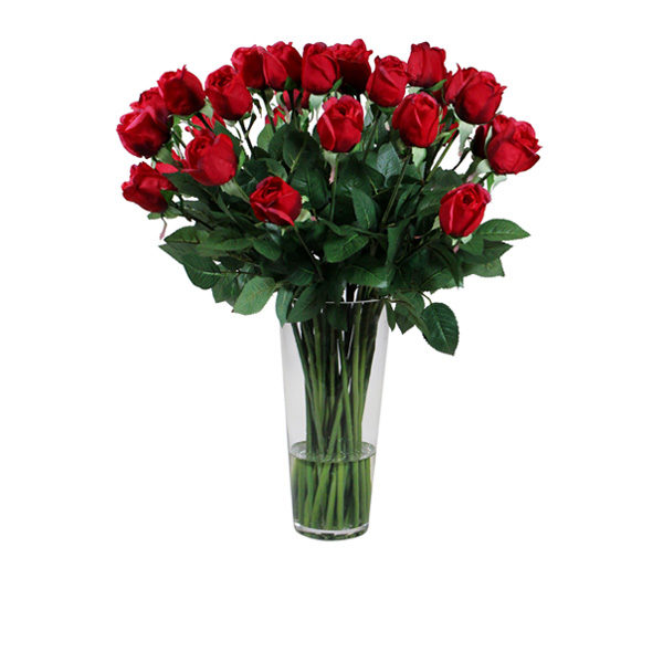 Artificial-silk-Lisa-rose-stems-set-in-a-clear-glass-vase-(C210RD)-Red---62cm