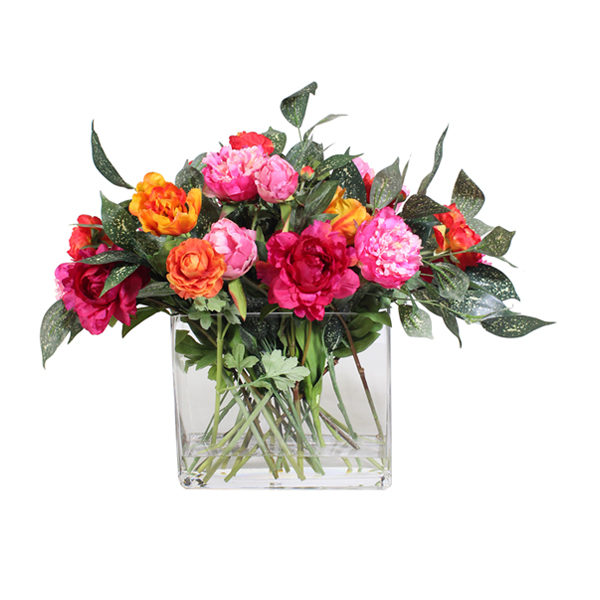 Artificial-silk-Mixed-Peony-and-Ranunculus-set-in-a-clear-glass-vase-D262-Mixed-56cm