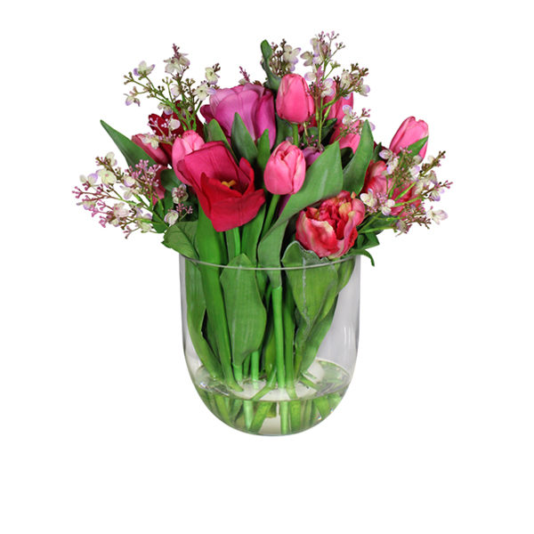 Artificial-silk-Mixed-Pink-Tulips-set-in-a-clear-glass-vase-B323-Mixed-44cm