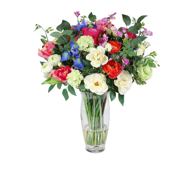 Artificial-silk-Mixed-Tulips-and-Ranunculus-set-in-a-clear-glass-vase-B331-Mixed-67cm