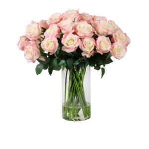 Artificial-silk-Olive-Rose-stems-set-in-a-clear-glass-vase-(LB186DKPE)-Dark-Peach---56cm