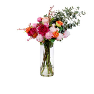 Artificial-silk-Peony-stems-&-Pennygum-spray-set-in-a-clear-glass-vase-(LB172)-Mixed-Pink---82cm