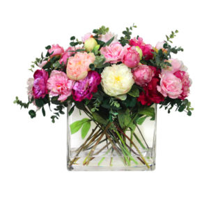 Artificial-silk-Peony-stems-set-in-a-clear-glass-vase-LB202-Pink-55cm
