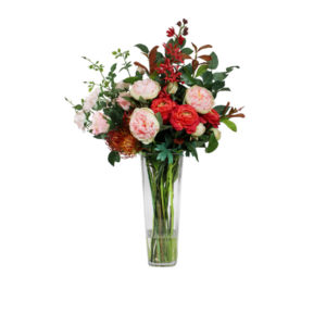 Artificial-silk-Ranunculus,-Peony-&-Rose-stems-set-in-a-clear-glass-vase-(LB174)-Mixed---86cm