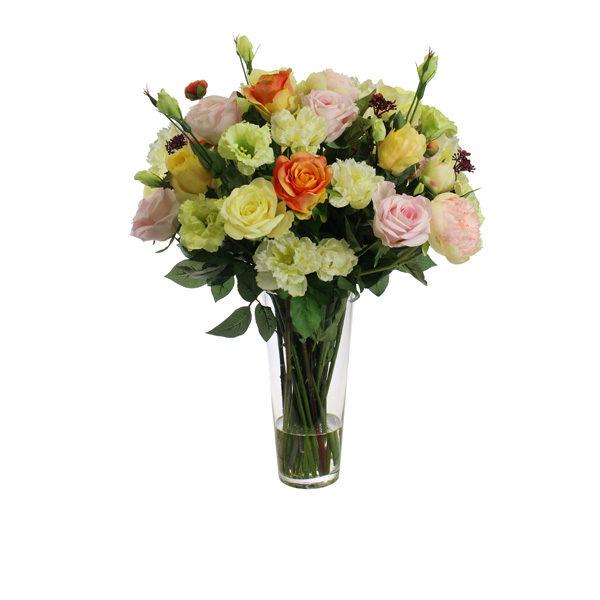 Artificial-silk-Rose-+-Peony-arrangement-set-in-a-glass-vase-(B311)-Mixed---67cm