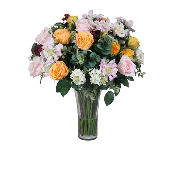 Artificial-silk-Rose-stems-Scabiosa-spray-set-in-a-clear-glass-vase-B329-Mixed-60cm