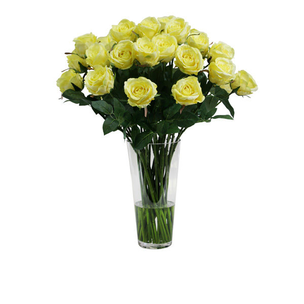 Artificial-silk-Rose-stems-set-in-a-clear-glass-vase-C280YL-Yellow-66cm