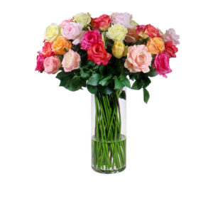 Artificial-silk-Rose-stems-set-in-a-clear-glass-vase-(LB188)-Mixed---67cm