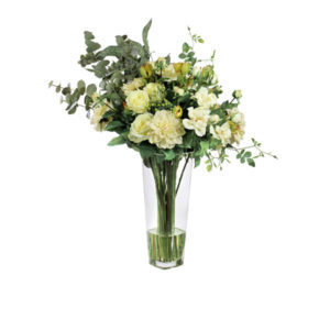 Artificial-silk-mixed-Rose-&-Pennygum-spray-set-in-a-clear-glass-vase-(LB173)-Light-Yellow---86cm