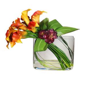 artificial-silk-Mixed-Calla-Lily-Succulent-Bow-Arrangement-LB221-Mixed-44cm
